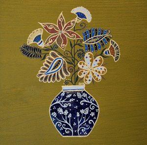 """Silvia Karamfilova Art """"Blue vase with flowers"""""""