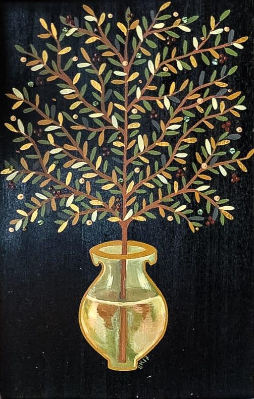 """Сilvia Кaramfilova painting """"Branch in a vase"""""""
